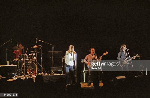 Mick Avory Ray Davies Jim Rodford and Dave Davies of The Kinks perform on stage at Hammersmith Odeon on May 28th 1979 in London England