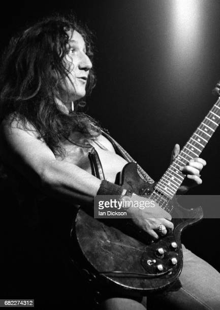 Mick Box of Uriah Heep performing on stage at Rainbow Theatre London 25 November 1973 He is playing a Gibson Melody Maker guitar