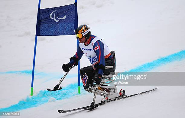 Mick Brennan of Great Britain competes in the Men's Super Combined Sitting Super G during day seven of the Sochi 2014 Paralympic Winter Games at Rosa...