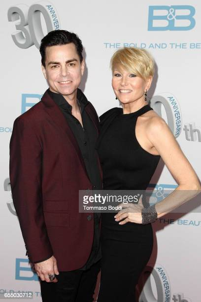 """Mick Cain and Schae Harrison attend the CBS's """"The Bold And The Beautiful"""" 30th Anniversary Party at Clifton's Cafeteria on March 18, 2017 in Los..."""