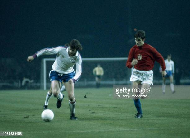 Mick Channon in action for England during the UEFA European Championship Qualifying Match between England and Czechoslovakia at Wembley Stadium in...