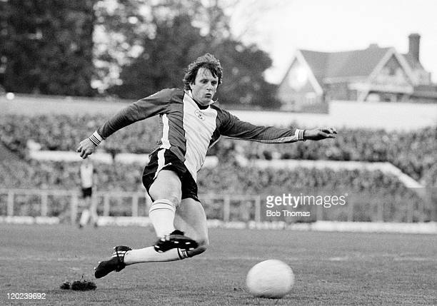 Mick Channon in action for Southampton during their First Division match against Tottenham Hotspur at the Dell in Southampton, 31st October 1981....