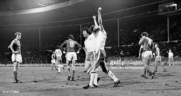 Mick Channon is congratulated by Kevin Keegan after scoring for England against Luxembourg during their World Cup Qualifying match at Wembley Stadium...