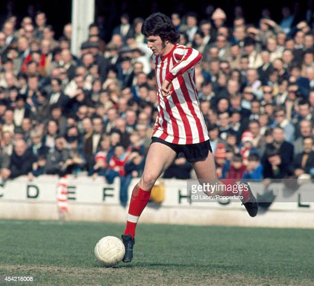 Mick Channon of Southampton in action against Blackpool during their Division One football match at The Dell on 27th March 1971. The match ended in a...