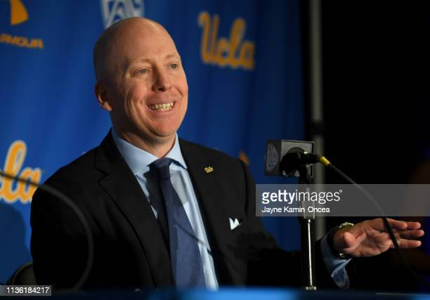 Mick Cronin speaks to the media after he was introduced as the new UCLA Mens Head Basketball Coach at Pauley Pavilion on April 10 2019 in Los Angeles...