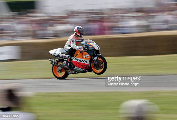 Mick Doohan fivetime consecutive world champion on a Honda NSR 500 at the 2005 Goodwood Festival of Speed on June 25 2005