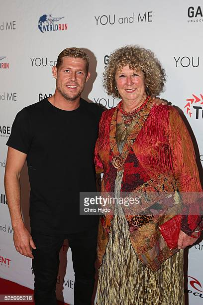 Mick Fanning and his mother Elizabeth arrive ahead of Gold Coast premiere of 'YOU and ME' at Event Cinemas Pacific Fair on April 29 2016 in Gold...