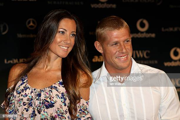 Mick Fanning and his wife Karissa attend the Laureus Welcome Party part of the Laureus Sports Awards 2010 at the Fairmount Hotel on March 9 2010 in...