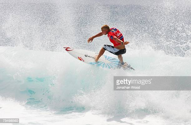 Mick Fanning of Australia competes during his heat against Jake Paterson of Australia in round three of the Quiksilver Pro Gold Coast at Snapper...