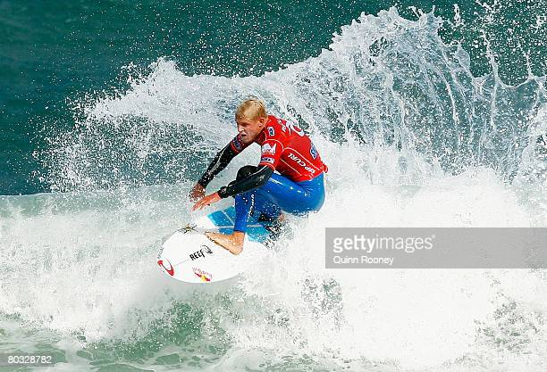 Mick Fanning of Australia competes during round two of the Rip Curl Pro as part of the ASP World Tour held at Bells Beach March 21 2008 in Torquay...