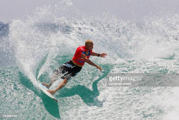 Mick Fanning of Australia in action during his heat against Jake Paterson in Round three of the Quiksilver Pro at Snapper Rocks on the Gold Coast on...