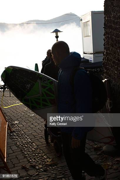 Mick Fanning of Australia looks back at the jetstream before heading to the backup venue of Sopelana after just one heat was run at Mundaka on the...