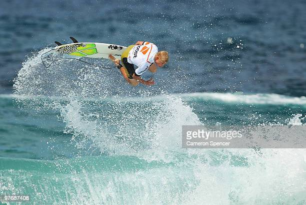 Mick Fanning of Australia performs an air during the Boost Bondi Beach SurfSho at Bondi Beach on March 14 2010 in Sydney Australia