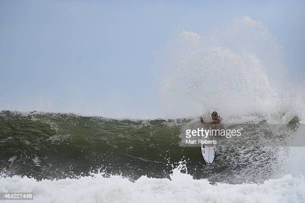 Mick Fanning of Australia surfs at Snapper Rocks on February 23 2015 on the Gold Coast Australia