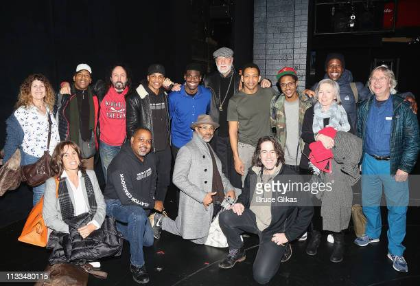 Mick Fleetwood friends and the cast pose backstage at the hit musical Ain't Too Proud on Broadway at The Imperial Theatre on March 28 2019 in New...