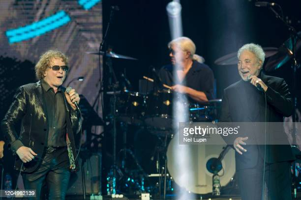 Mick Hucknall and Sir Tom Jones perform at the Music For Marsden 2020 at The O2 Arena on March 3, 2020 in London, England.