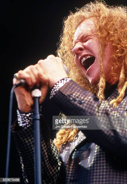 Mick Hucknall of Simply Red performing on stage at Wembley Stadium in London on the 11th July 1992