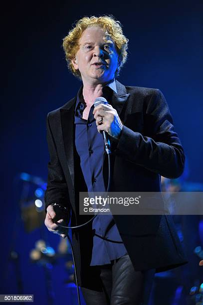 Mick Hucknall of Simply Red performs on stage at The O2 Arena on December 17 2015 in London England