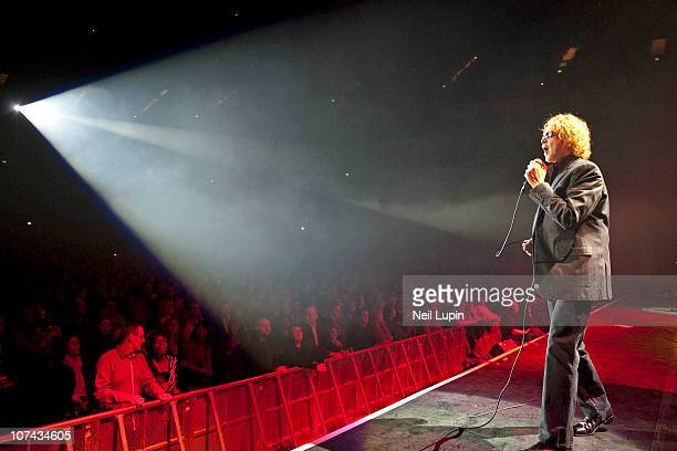 Mick Hucknall of Simply Red performs on stage during the opening night of their Farewell Tour at O2 Arena on December 8 2010 in London England
