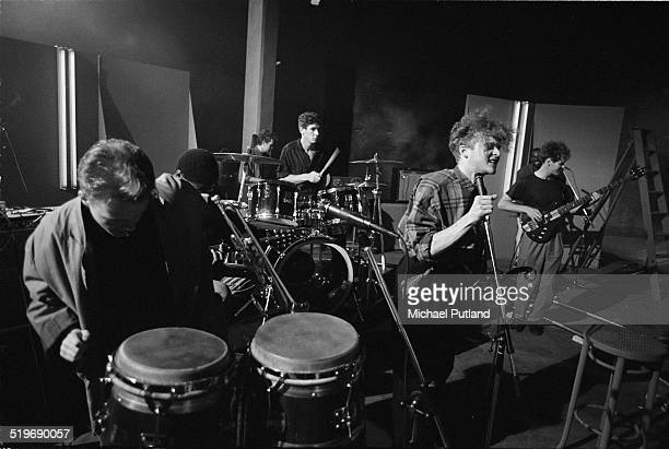 Mick Hucknall performing with Simply Red at a video shoot in London September 1985