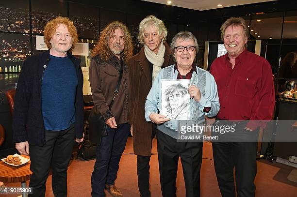 Mick Hucknall Robert Plant Sir Bob Geldof Bill Wyman and Joe Brown pose backstage at Bill Wyman's 80th Birthday Gala as part of BluesFest London at...