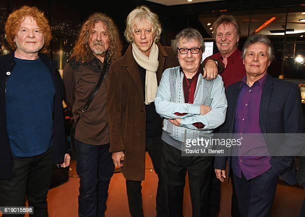 Mick Hucknall Robert Plant Sir Bob Geldof Bill Wyman Joe Brown and Terry Taylor pose backstage at Bill Wyman's 80th Birthday Gala as part of...