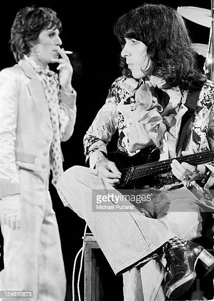 Mick Jagger and Bill Wyman of The Rolling Stones perform on stage UK 1973