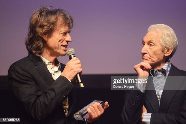 Mick Jagger and Charlie Watts of The Rolling Stones accept the award for Album Of The Year Public Vote for their album 'Blue Lonesome' at the Jazz FM...