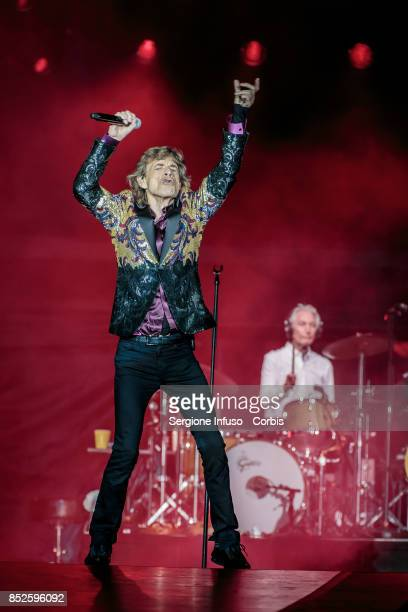 Mick Jagger and Charlie Watts of The Rolling Stones perform on stage during Lucca Summer Festival 2017 on September 23 2017 in Lucca Italy