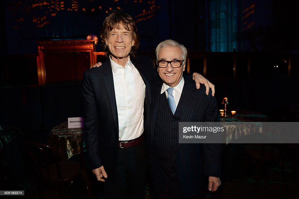 Mick Jagger (L) and director Martin Scorsese attend the after party of the New York premiere of 'Vinyl' at Ziegfeld Theatre on January 15, 2016 in New York City.