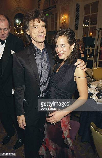Mick Jagger and Jade Jagger attend the 2002 Evening Standard Film Awards at The Savoy Hotel on February 4 2002 in London