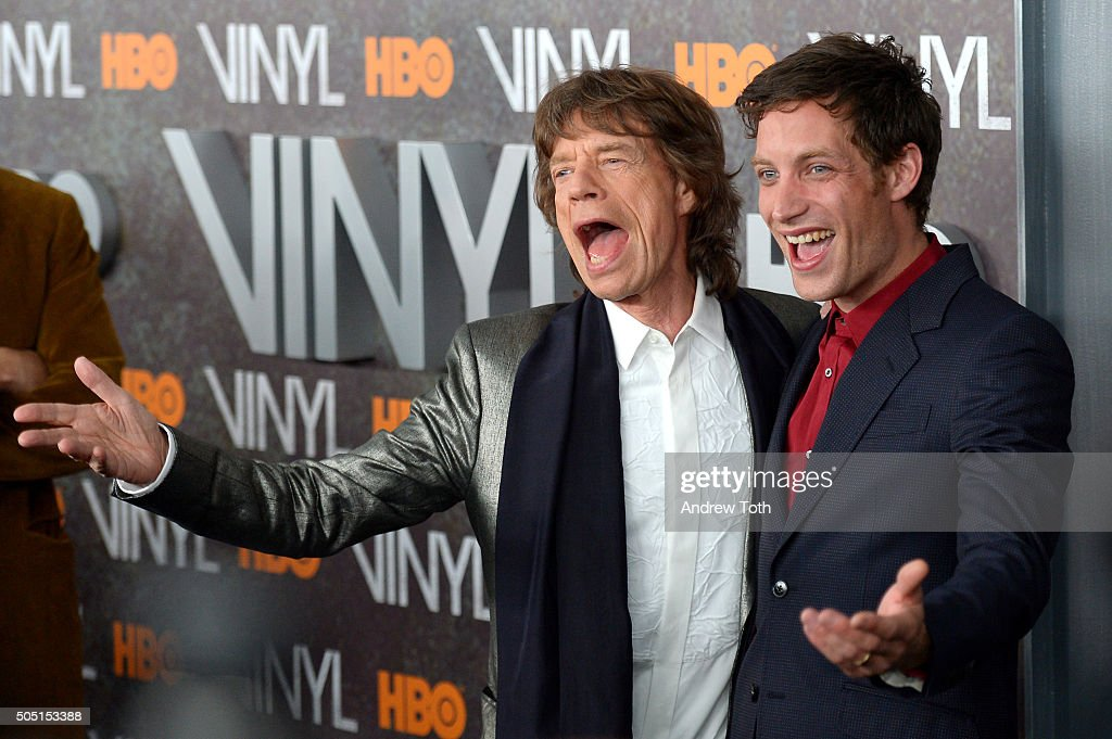 Mick Jagger and James Jagger attend the 'Vinyl' New York premiere at Ziegfeld Theatre on January 15, 2016 in New York City.