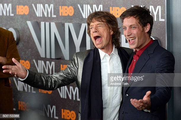 Mick Jagger and James Jagger attend the 'Vinyl' New York premiere at Ziegfeld Theatre on January 15 2016 in New York City