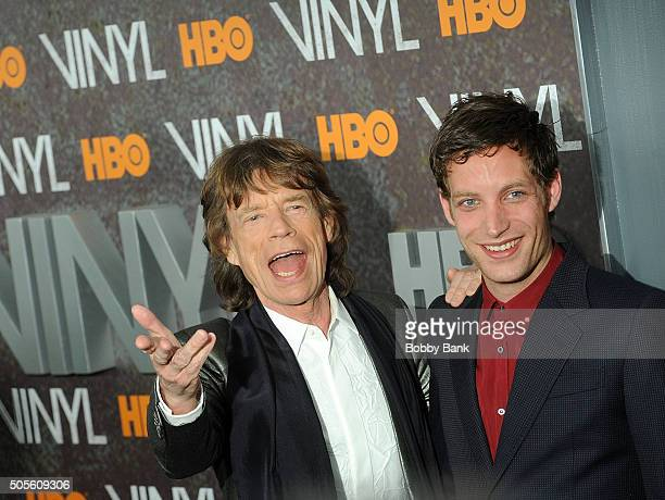 Mick Jagger and James Jagger attends the 'Vinyl' New York Premiere at Ziegfeld Theatre on January 15 2016 in New York City