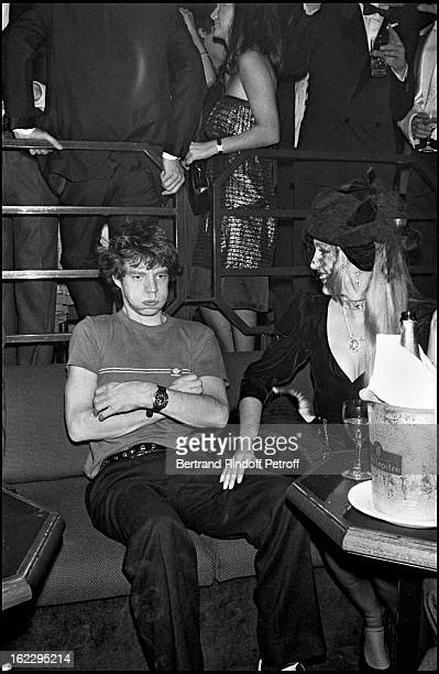 Mick Jagger and Jerry Hall at a party in L'Elysee Matignon Paris 1982