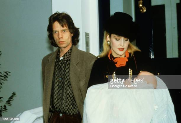 Mick Jagger and Jerry Hall at the baptism of their son James November 8 1985