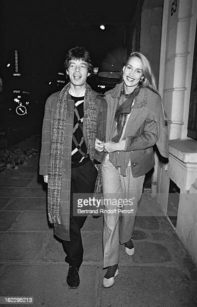 Mick Jagger and Jerry Hall in Paris 1982