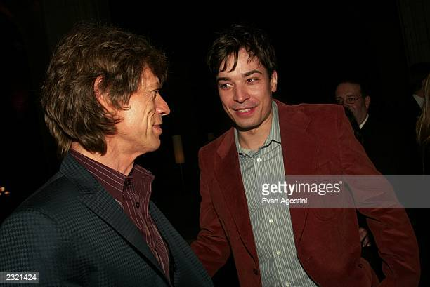 Mick Jagger and Jimmy Fallon at the afterparty for the premiere of Enigma at Gustavino's in New York City April 11 2002 Photo Evan...
