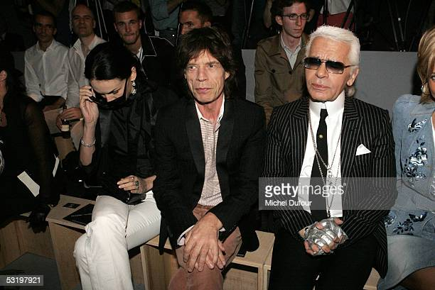 Mick Jagger and Karl Lagerfeld attends the Dior's Men fashion Showdesigned by Heidi Slimaneon July 1st 2005 in Paris France