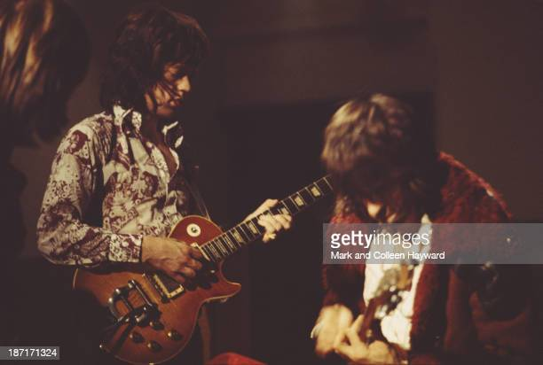 Mick Jagger and Keith Richards from The Rolling Stones record guitar parts for the track 'Sympathy for the Devil' at Olympic Studios in Barnes London...