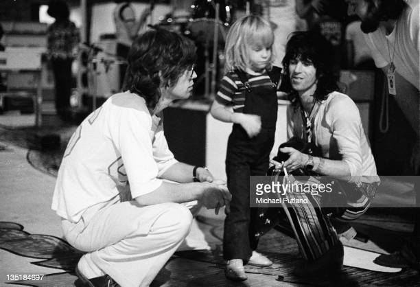 Mick Jagger and Keith Richards of the Rolling Stones and Richards' son Marlon during a soundcheck at Wembley Empire Pool London 7th September 1973