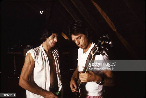 Mick Jagger and Keith Richards of the Rolling Stones are photographed while recording at Longview Farm in September 1981 in Worcester Massachusetts...