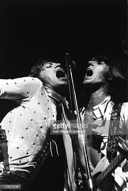 Mick Jagger and Keith Richards of the Rolling Stones are photographed on stage at the Palladium in 1972 in Long Beach California CREDIT MUST READ Ken...