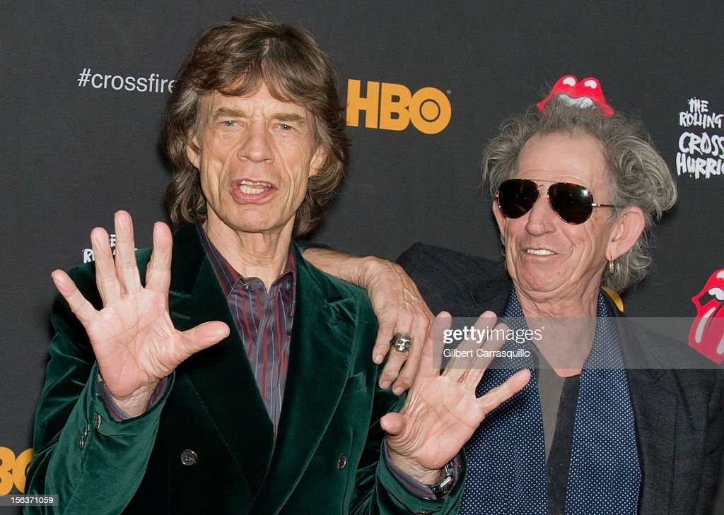 Mick Jagger and Keith Richards of The Rolling Stones attend The Rolling Stones' 'Crossfire Hurricane' premiere at the Ziegfeld Theater on November 13, 2012 in New York City.