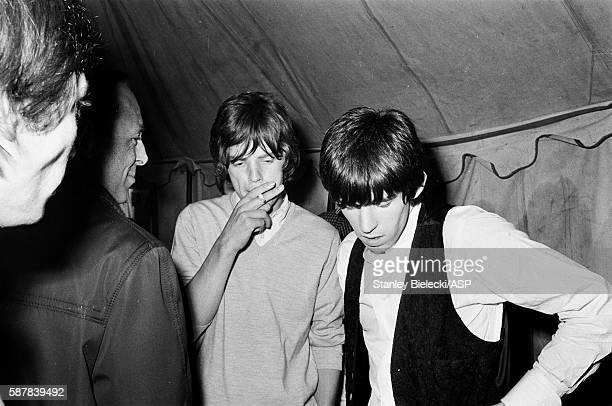 Mick Jagger and Keith Richards of The Rolling Stones backstage at the Fourth National Richmond Jazz Blues Festival United Kingdom 7th August 1964
