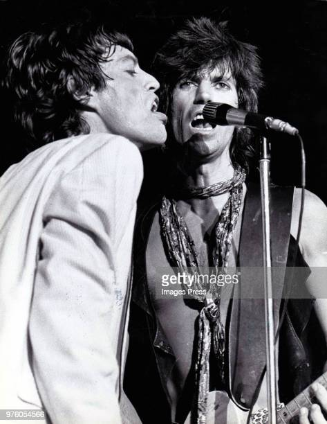 Mick Jagger and Keith Richards of the Rolling Stones in concert circa 1978 in New York