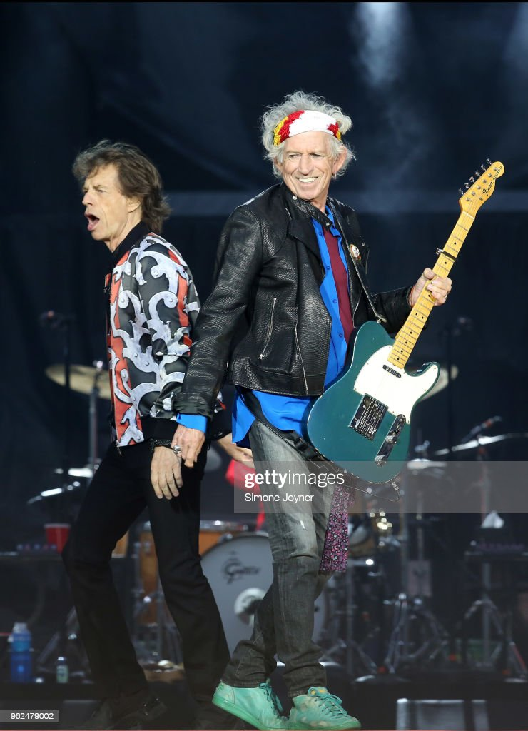 Mick Jagger and Keith Richards of The Rolling Stones perform live on stage during the 'No Filter' tour at The London Stadium on May 25, 2018 in London, England.