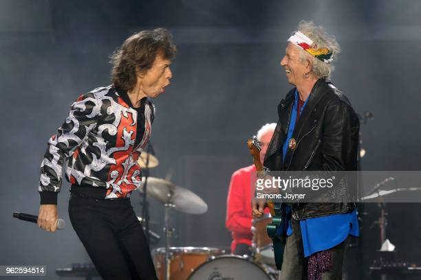 Mick Jagger and Keith Richards of The Rolling Stones perform live on stage during the 'No Filter' tour at The London Stadium on May 25 2018 in London...