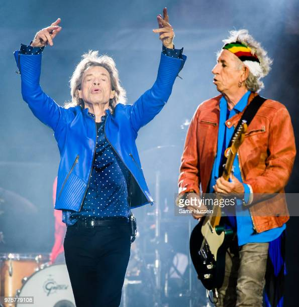 Mick Jagger and Keith Richards of The Rolling Stones perform live on stage at Principality Stadium on June 15 2018 in Cardiff Wales