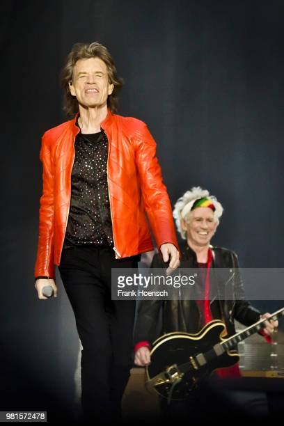 Mick Jagger and Keith Richards of The Rolling Stones perform live on stage during a concert at the Olympiastadion on June 22 2018 in Berlin Germany